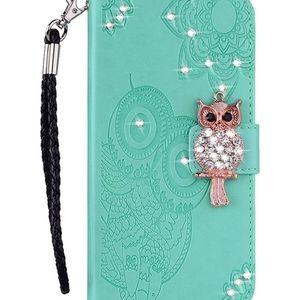 3D Bling Gems Owl Mandala PU Leather Case